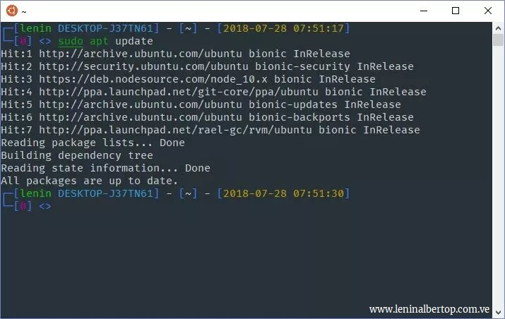 WSL sudo apt update